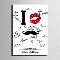 キャンバス絵画結婚式パーティーの署名メッセージボードの壁の装飾の唇のプリントひげの結婚式の印,60*80cm