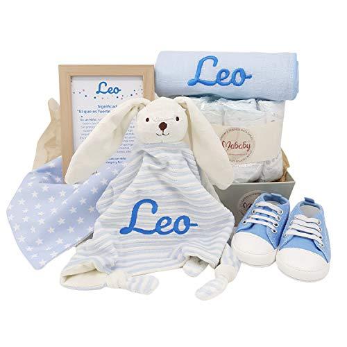 MabyBox Sneakers | Canastilla de Bebe | Regalo original Recien Nacido | Cesta de Bebe Personalizada | Regalos bebé (azul, 0-3 meses)