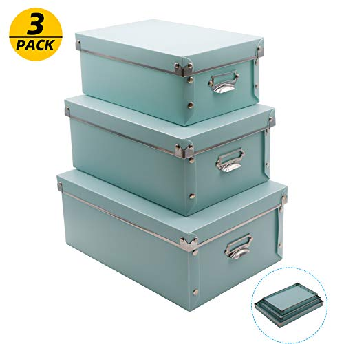 3 Pack/Set Plastic Storage Box with Lid,Waterproof Storage Bins for Toys/Shoes/Clothes/Office