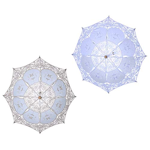 Toyvian 2 Stücke 30cm Spitze Sonnenschirm Hochzeit Regenschirm für Braut Hochzeitsgeschenk Foto Requisiten Kinder Geschenk Weiß & Beige