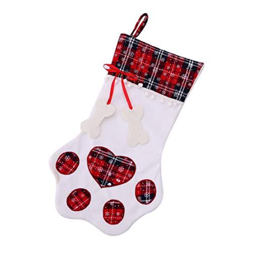 happy event Weihnachtsplaid-Geschenktaschen | Haustier Hund Katze Pfote Stocking Socken | Weihnachtsbaum Ornamente (Rot)