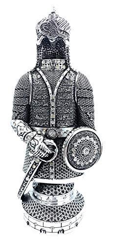 Ottoman Soldat Ornament 27 cm mit Ayatul Kursi Ertugrul IYI islamisches Heim-Bücherregal Büro Schreibtisch Masjid (Silber)