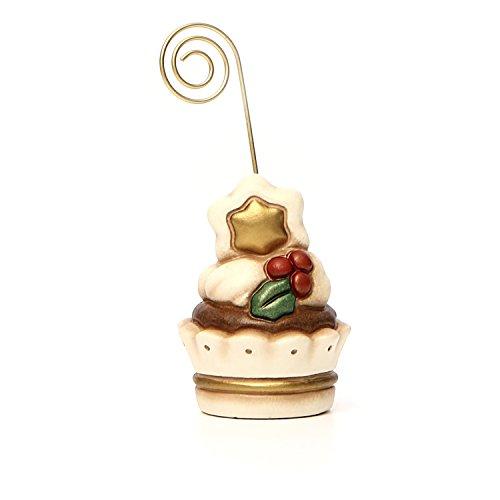 THUN Arredo Casa Segnaposto Cupcake Natale, Ceramica, Rosso, 5.2 x 5.2 x 6.1 cm
