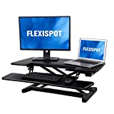 FlexiSpot Motorized Standing Desk - 36' Wide Electric Stand up Desk Computer Riser with Quick Release Keyboard Tray EM7