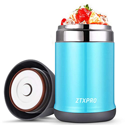Insulated Lunch Container Thermos Food Jar ZTXPRO Hot & Cold Stainless Steel Vacuum Box with Handle 16 oz Leak Proof Design Food Storage Bento Lunch Box for Kids School Picnic Office Outdoors - Blue