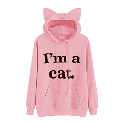 Qisc Women's Cute Cat Ear Big Pocket Hoody Sweatshirt, Cartoon Anime Kangaroo Pouch Carriers Hoodie Pullover (Pink, L)