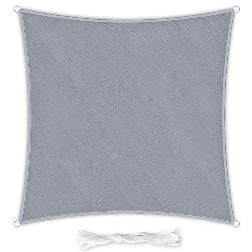 Premium Sonnensegel Quadratisch 3x3m hellgrau inkl. Befestigungsseilen aus wetterbeständingen HDPE | Sonnenschutz Schattenspender Garten Balkon Camping & Terrasse - UV Schutz Wetterschutz
