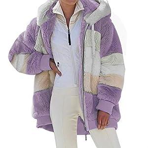 BOIZAN Damen Lamb Wool Padded Coat, Teddy-Fleece Hoodie Plüsch, Kapuzenjacke Frauen Winter, Wintermode Casual Warme Reißverschlussjacke (lila, 5X-L)
