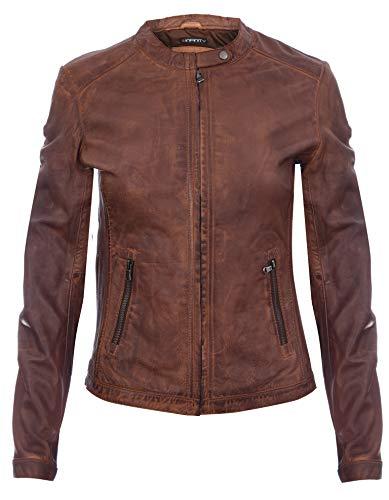 Infinity Leather Mujer Coniac Broncearse Vendimia Brando 100% Chaqueta de Cuero de Motorista XS