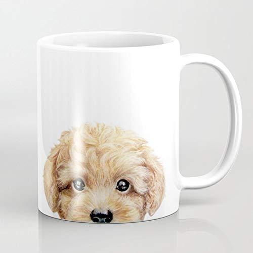 Queen54ferna Juguete caniche perro ilustración original pintura impresión taza de café divertida novedad cerámica 11 oz taza de Navidad regalos para los amantes del café