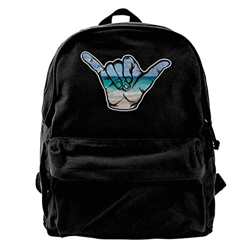 huatongxin Hang Loose Beach Scene Shaka Student Mochila,Lightweight Travel Sport School Bag Pack Mochilas Black
