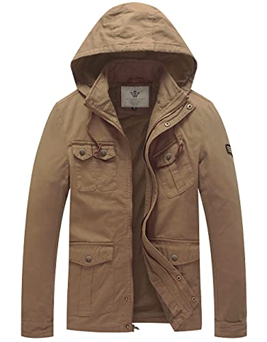 WenVen Men's Fall Trench Coat Classic Outerwear Jacket with Hood (Khaki, S)