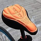 youeneom Soft Comfort Bike Seat Pad Dual Shock Bicycle Silicone Saddle,Breathable Exercise Bike Cushion Cover Padded for Mountain Bikes, Road Bikes (Orange)