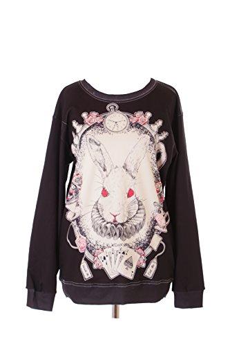 Kawaii-Story WY-WS-0181 - Sudadera con diseño de conejo, conejo, maravillas y país, color negro