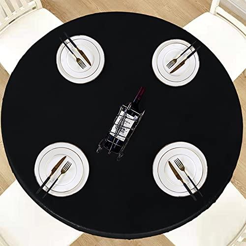 LUSHVIDA Round Waterproof Table Cover Elastic Tablecloth Vinyl Fitted Table Cover Elastic Edged Plastic Table Cover Fits Tables up to 45'-56' R Black