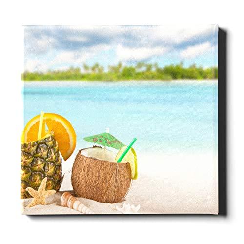 Decoración de pared al aire libre 20 x 24 pulgadas (50x60 cm) Playa tropical de arena con bebidas de verano Decoración de pared familiar Lienzo Pintura decorativa adecuada para la decoración del hog