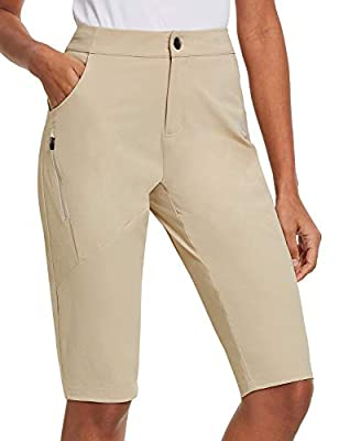BALEAF Women's Hiking Shorts UPF 50+ Quick Dry Water-Resistant Slim Knee Length Shorts with Zippered Pockets Khaki Size S