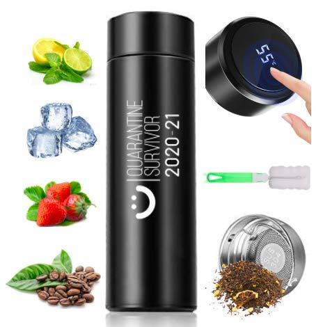 Tazza da viaggio, thermos da 500 ml, con schermo LED touch intelligente, con temperatura, senza BPA, ecologica, riutilizzabile, in acciaio inox, 500 ml, per sport