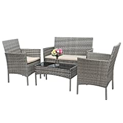 Modern&Comfortable: The chair set is made of rattan wickers that make the set looks modern and fashion. But the chair has outstanding load bearing capacity. In addition, the padded cushions can offer you a soft sitting experience and the backrest can...