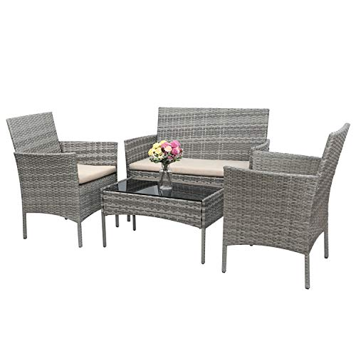 Greesum GS-4RCS4BG 4 Pieces Patio Outdoor Rattan Furniture Set, Gray and Beige