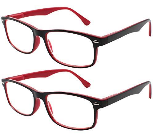 TBOC Gafas de Lectura Presbicia Vista Cansada - (Pack 2 Unidades) Graduadas +1.50 Dioptrías Montura de Pasta Bicolor Roja y Negra Diseño Moda Hombre Mujer Unisex Lentes de Aumento Leer Ver Cerca