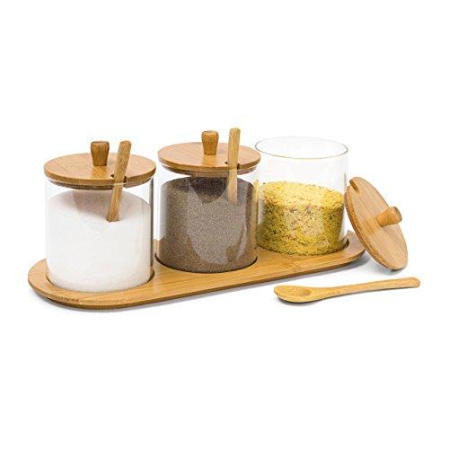 Relaxdays Gewürzgläser JIAO HBT: 12 x 31 x 12 cm Bambus Gewürzhalter für 3 Gewürzbehälter aus Glas mit passenden Löffeln als Alternative zu Gewürzständer und Gewürzregal für Küche und Esstisch, natur