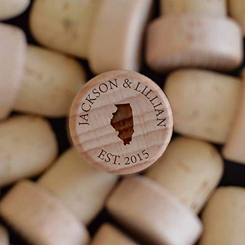 Froolu Personalized Wine Stoppers SET OF 5 By Customized Engraved Monogrammed Wood Top Cork, Winter Wedding Favor or Gif
