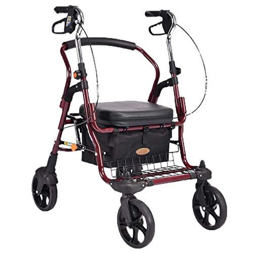 CLQya Einkaufswagen für alte Personen , Auf den Boden klettern, um einen Lebensmittelwagen zu kaufen Kleiner Zugwagen Klappwagen Kinderwagen Älterer Handwagen Tragbare Haushaltsanhänger Rot