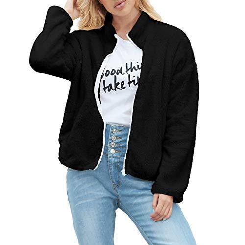 Snakell Veste Femme Polaire Zippé Manteau Fille Epais Hiver Manches Longues Fourrure Artificielle Chaud à Revers Gilet Veste Blouson Slim Grande Taille Parka Coat Outwear