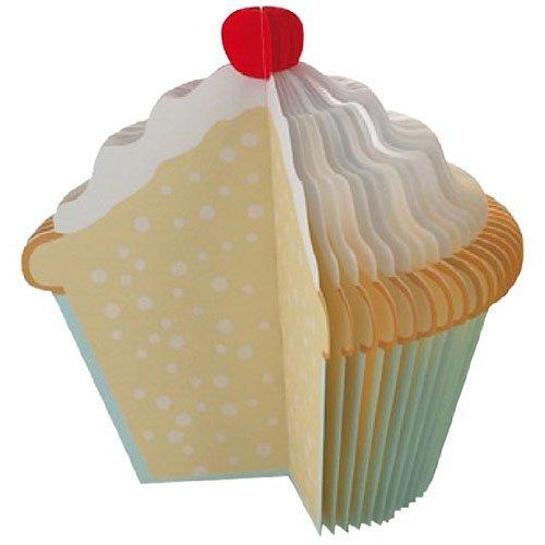 Kikkerland Cupcake Memo Pad, White/Blue/Brown