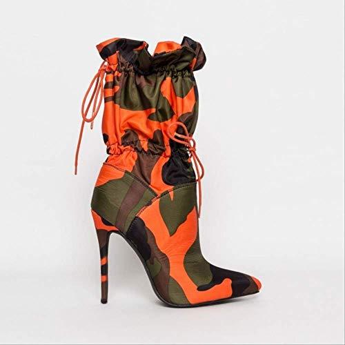 SHZSMHD Herbst Neue Spitze Zehen Toggle Schnürsenkel und EIN Pfennigabsatz tragen sie mit Cargohosen oder einem kurzen, figurbetonten Kleid High Heel Stiefel 5.5 Orange