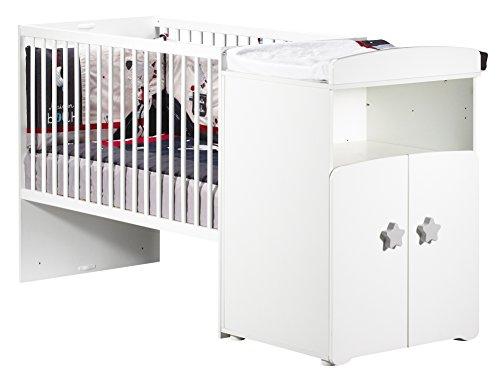 BABY PRICE New Basic Lit Bébé Combiné Évolutif avec Bouton Étoile Gris 120 x 60 cm en 90 x 190 cm