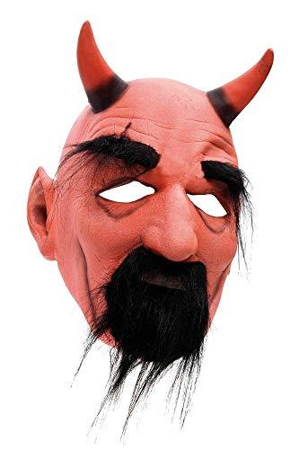 shoperama Teufel Latex Maske mit Hörnern Bart und Augenbrauen Halloween Horror Devil Satan Luzifer Fürst der Finsternis Hölle diabolisch