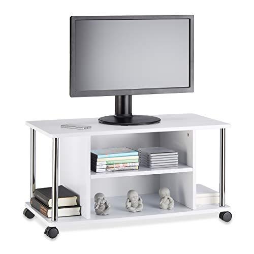 Relaxdays Fernsehtisch weiß, TV-Unterschrank mit 4 Rollen, rollbarer Fernsehschrank, MDF, HxBxT: 41,5 x 80 x 40 cm, White