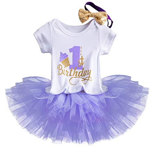 NNJXD Girl Newborn Crown Tutu 1st Birthday 3 Pcs Trajes de Flores Romper + Falda + Diadema Púrpura