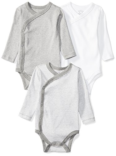 Moon and Back Baby Set of 3 Organic Long-Sleeve Side-Snap Bodysuits, Grey Heather, 6-9 Months