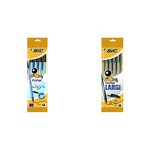 BIC Cristal Soft bolígrafos punta media (1,2 mm) - Negro, Blíster de 4 unidades + Large bolígrafos Punta Ancha (1,6 mm) - Negro, Blíster de 5 unidades