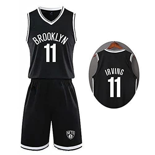 Camiseta de baloncesto para hombre conjunto para niños adultos, NBA Nets # 11 Kyrie Irving kits de competición camiseta y pantalones cortos malla tela transpirable ropa deportiva,Negro,XXL