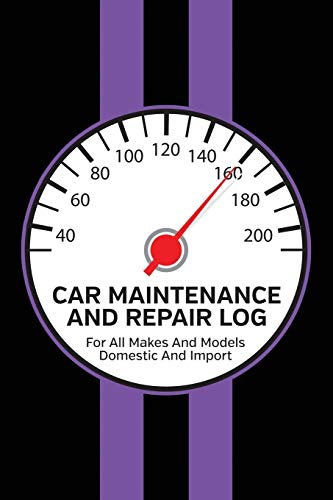 Car Maintenance And Repair Log: Service and Repair Record Book For All Cars and Trucks 6x9 120 Pages Purple Racing Stripes