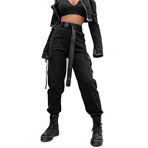 AOWEER Womens High Waisted Cargo Pants Pockets Casual Loose Combat Twill Trousers Girls # Black S