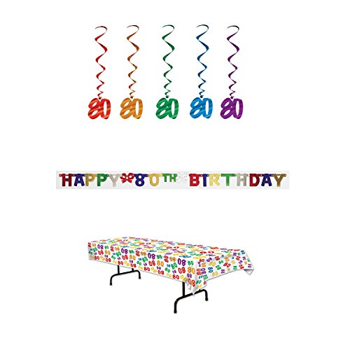 80th Birthday Party Decoration Kit: Bundle Includes Banner, Table Cover, and Whirls