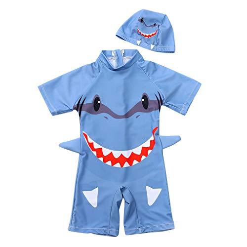 Fenverk Baby- / Kleinkinder-Badebekleidung 2er Set,Junge EIN stück Kurzärmel-Kleidung Badeanzug,Kinder Jungen Bademode Einteiler Schützend Schwimmanzug mit Sonnenhut(Blau,4-5 Jahre)