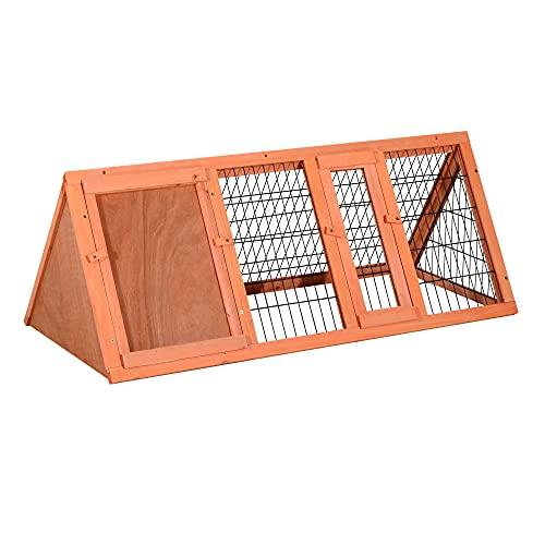 PawHut Gabbia per Conigli e Animali Domestici in Legno di Abete 118 x 50 x 45cm