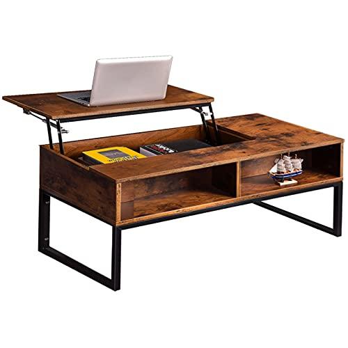 Honganrunli Mesa de centro regulable en altura, mesa de café con compartimento para revistas, mesa de madera para salón, 100 x 52 x 45 cm