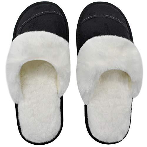 Womens Faux Fur Warm Memory Foam Slippers Suede Slip-on Cozy House Shoes Non-Slip Sole