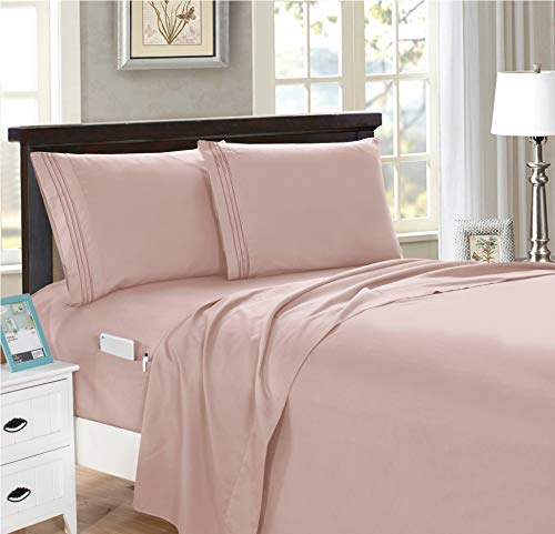 Elegant Comfort 4-Piece King- Smart Sheet Set! Luxury Soft 1500 Thread Count Egyptian Quality Wrinkle and Fade Resistant with Side Storage Pockets on Fitted Sheet, King, Dusty Rose