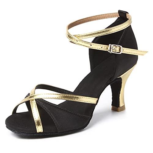HIPPOSEUS Zapatos de Baile Latino con Correa en el Tobillo para Mujer Zapatos de Baile de Salsa de salón con Purpurina y Punta Abierta Negro,36 EU