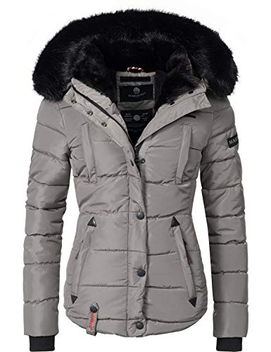 Marikoo Damen Winter Jacke Steppjacke Lotusblüte (vegan hergestellt) Grau Gr. XS