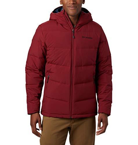 Columbia Men's Standard Lone Fir 650 TurboDown Hooded Jacket, Red Jasper, Small