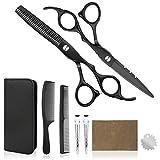 VANWALK Juego de tijeras profesionales de peluquería 2 tijeras premium para cortar el pelo afilado, kit de corte de pelo para hombres, mujeres y niños (plata) (negro-6CR)